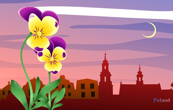 Picture clouds, landscape, flowers, the city, travel, the moon, Poland, tourism, country, the state, Poland