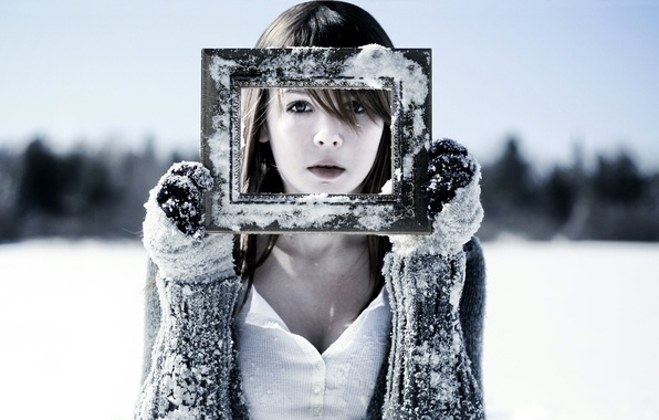 Picture cold, winter, snow, face, Girl, frame, frost, gloves