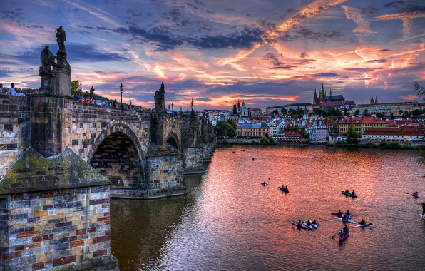 Picture clouds, bridge, the city, river, home, the evening, Prague, Czech Republic, architecture, The Czech Republic, …