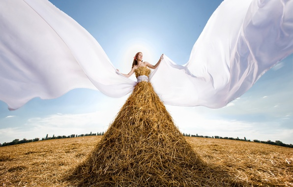 Picture photo, The sun, The sky, Girl, Straw, Grass, Hay, Creative, The situation, Dry