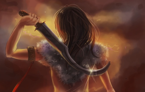 Picture girl, weapons, background, fiction, hair, back, hand, art