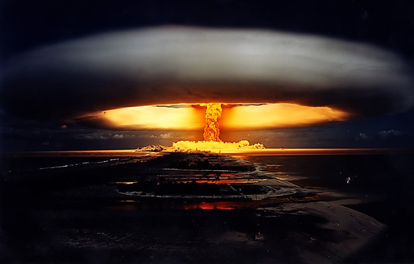 Picture night, war, a nuclear explosion