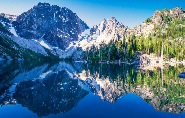 Picture mountains, lake, reflection, Washington, Washington, The cascade mountains, Cascade Range, Lake Kolchak, Colchuck Peak, Alpine …