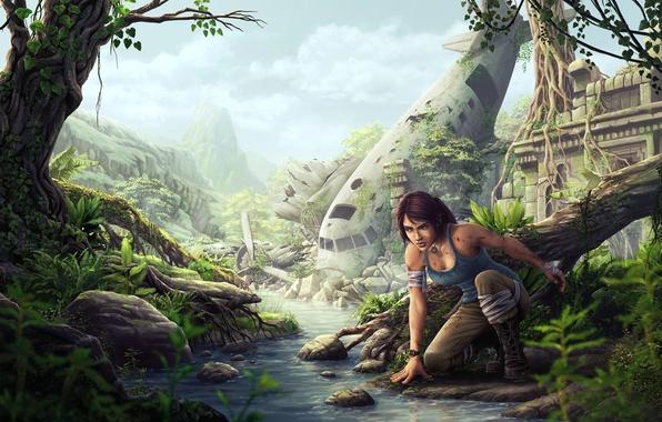 Picture girl, the plane, stream, jungle, the skeleton, art, ruins, river, lara croft, tomb raider