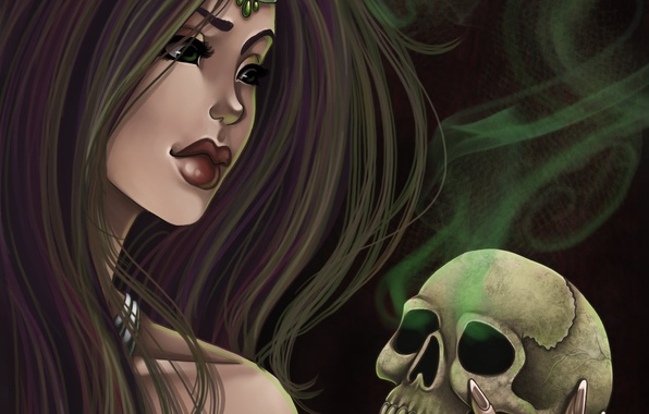 Picture look, girl, face, hair, smoke, skull, hand, art, lips, Amberly Berendson, Harpyqueen