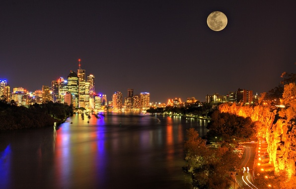 Picture road, night, lights, Strait, skyscrapers, The moon, panorama, Australia, Brisbane