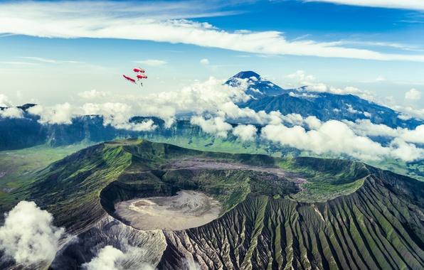Picture landscape, flight, bromo, skydiving, Java, Tanger