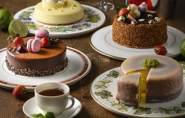 Picture berries, tea, cake, cream, dessert, macaron