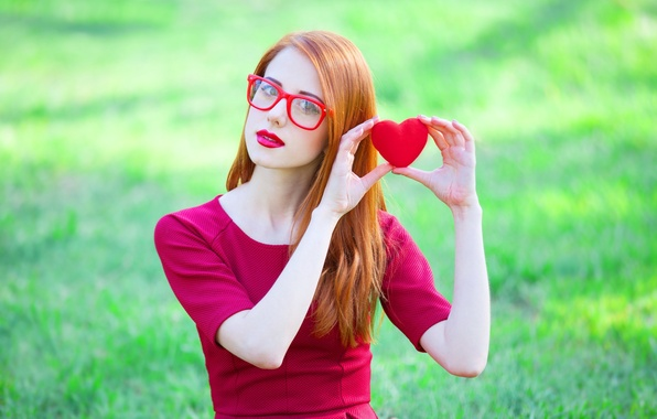 Picture look, pose, heart, Girl, dress, glasses, red
