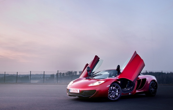 Picture red, McLaren, supercar, red, MP4-12C, open doors, McLaren, door-butterfly