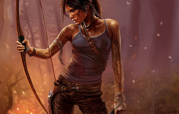 Picture girl, face, weapons, the game, bow, dirt, the fire, profile, Tomb Raider, Lara Croft