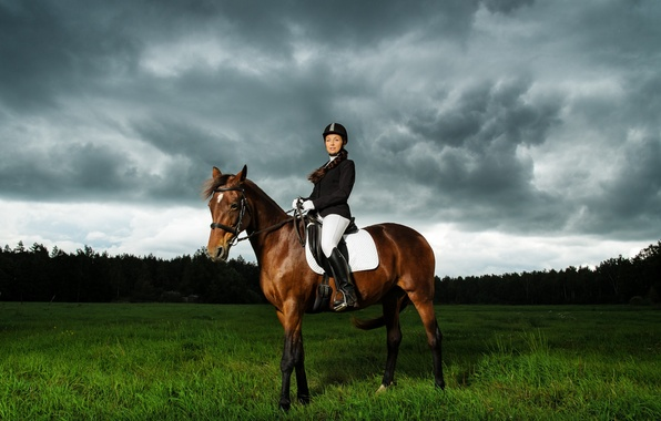 Picture field, the sky, grass, clouds, trees, horse, Girl, hat, rider, saddle