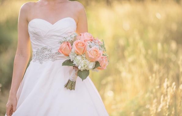 Picture bouquet, dress, the bride, wedding, wedding