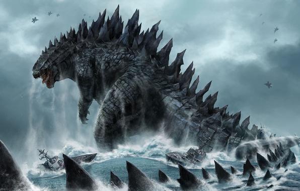 Picture sea, wave, the sky, monster, dinosaur, ships, fighters, submarine, tail, Godzilla, Godzilla