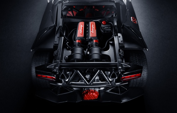 Picture engine, Lamborghini, black, Lamborghini, rear, Elemento, Sesto, elemento, Sesto, hood space