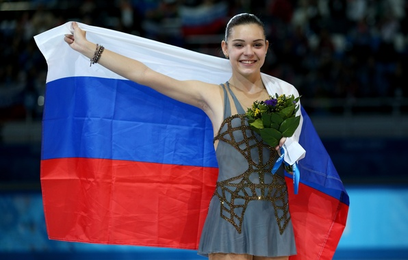 Picture joy, flowers, bouquet, flag, figure skating, tricolor, RUSSIA, Sochi 2014, The XXII Winter Olympic Games, …