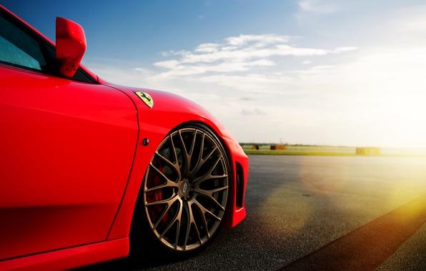 Picture the sky, the sun, clouds, Ferrari, red, disk, Ferrari, Blik, red, runway, bus, F-430