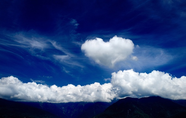 Picture the sky, clouds, mountains, heart, tops, cloud, heart