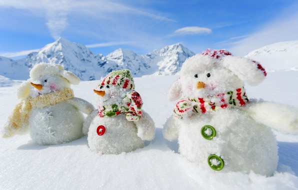 Picture winter, snow, mountains, nature, new year, snowmen, White snowmans, 2015