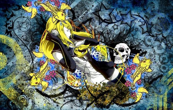 Picture water, flowers, skull, Girl, vector, fish, headphones, long hair, closed eyes, yellow hair