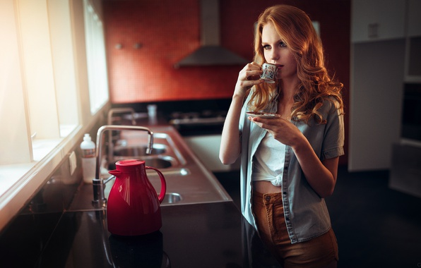 Picture girl, the situation, kitchen, Ivan Gorokhov, morning coffee
