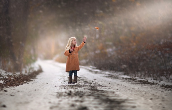 Picture autumn, snow, sheet, girl