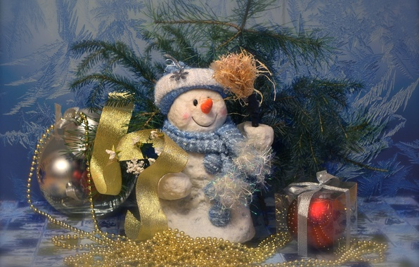 Picture pattern, toys, spruce, frost, snowman