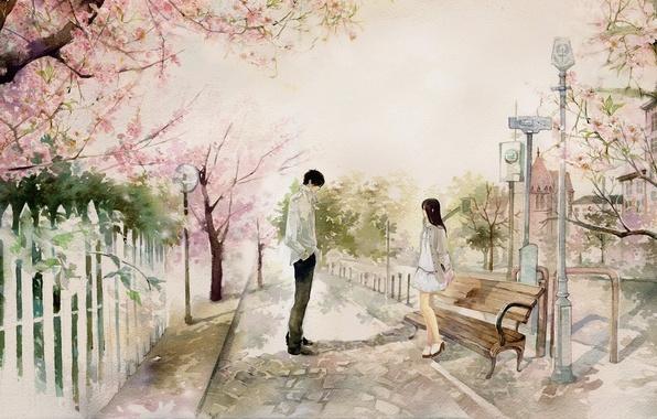 Picture girl, bench, the city, Park, Sakura, art, shop, guy, date, he he wu