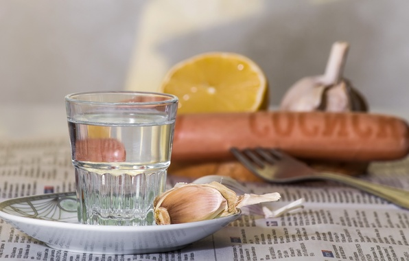 Picture lemon, alcohol, dishes, still life, vodka, glass, sausage, composition, garlic, appetizer, products, refraction