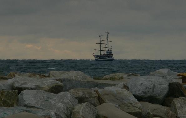 Picture sea, water, stones, ship
