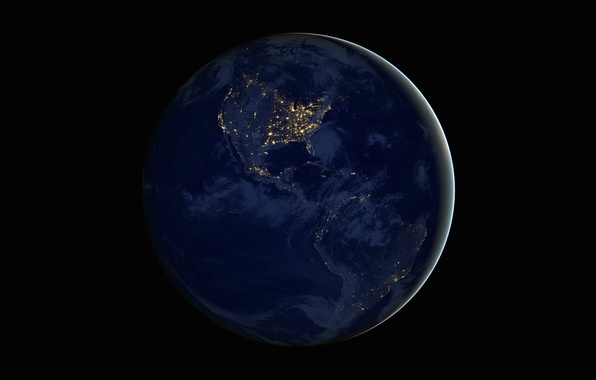 Picture night, lights, planet, Earth, continents