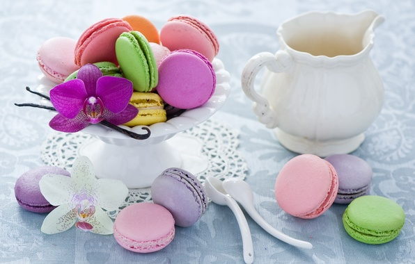 Picture pink, cookies, dishes, white, pitcher, colorful, dessert, Orchid, spoon, cuts, Anna Verdina, macaron, macaron