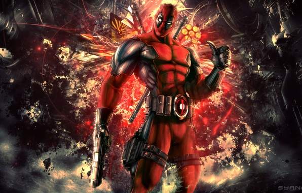Picture abstract, red, background, Marvel, gear, comics, costume, Wade Wilson, video games, Activision Publishing, High Moon …