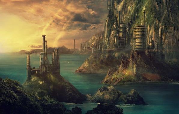 Picture sea, landscape, the city, building, fantasy, art, steampunk, fantasy, art, Pulpoglow, Technopolis, Technopolis