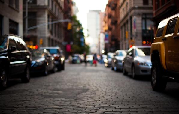 Picture road, machine, city, the city, street, building, blur, street, bokeh