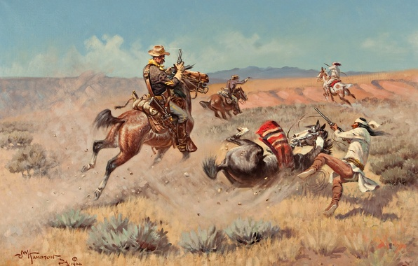 Picture the sky, mountains, war, horse, picture, Prairie, Indian, John Wade Hampton