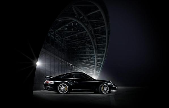 Picture night, black, The city, Porsche