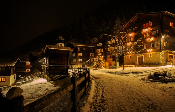 Picture winter, road, snow, night, lights, the fence, new year, home, Switzerland, tree, garland, Coppice