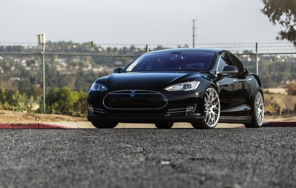 Picture car, black, Tesla, Model S, s85
