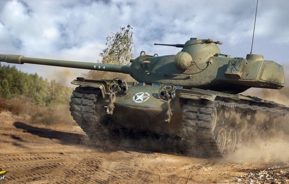 Picture road, dust, tank, armor, American, heavy, T110E5, World of Tanks
