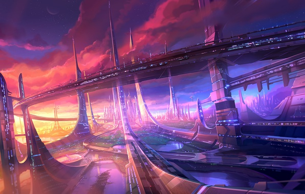 Picture clouds, sunset, bridge, the city, future, lake, skyscrapers, megapolis