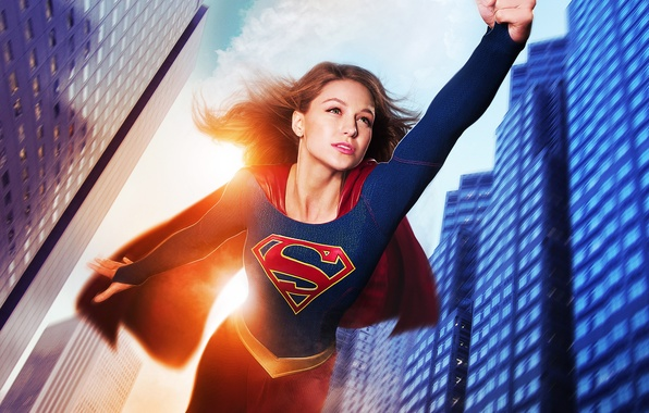 Picture flight, fiction, home, costume, the series, DC Comics, Supergirl, 2015, Melissa Benoist, Melissa Benoist, Supergirl