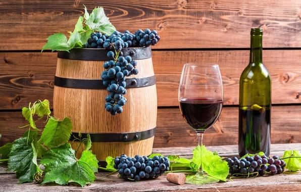 Picture leaves, wine, red, glass, bottle, grapes, vine, barrel