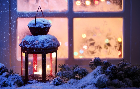 Picture winter, snow, New Year, Christmas, light, Christmas, winter, snow, Xmas, decoration, candle, lantern, Merry