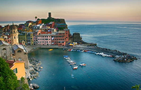 Picture sea, landscape, the city, coast, building, Bay, boats, Italy, Italy, The Ligurian sea, Vernazza, Vernazza, …