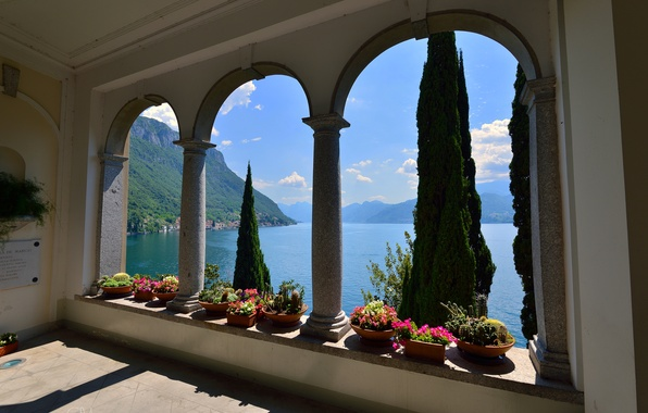 Picture landscape, flowers, mountains, lake, Villa, home, Italy, arch, Varenna, Villa Monastero