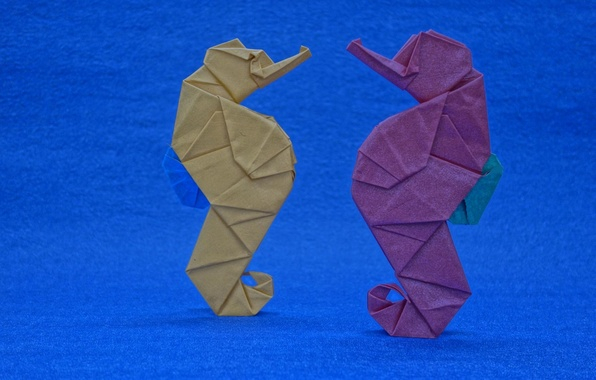 Picture paper, background, origami, seahorses