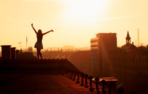 Picture roof, girl, joy, city, girls, mood, view, height, home, morning, hands, roof