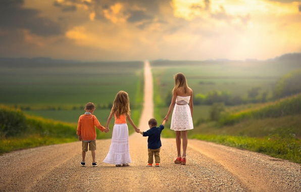 Picture road, children, family, space