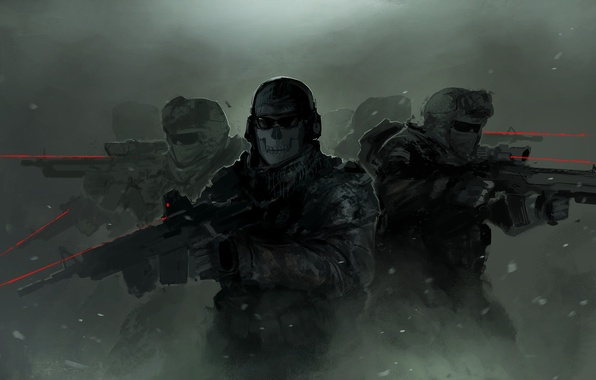 Picture soldiers, ghost, Activision, Infinity Ward, Call of Duty: Modern Warfare 2